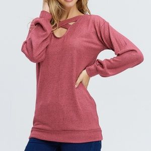 Sweaters - Criss-Cross Front Sweater - RUST